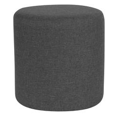 Taut Upholstered Round Ottoman Pouf in Dark Gray Fabric