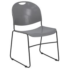 880 lb. Capacity Gray Ultra-Compact Stack Chair with Black Frame