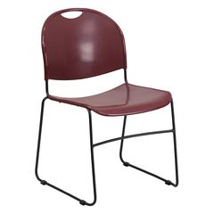 880 lb. Capacity Burgundy Ultra-Compact Stack Chair with Black Frame