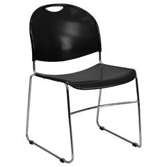 880 lb. Capacity Black Ultra-Compact Stack Chair with Chrome Frame