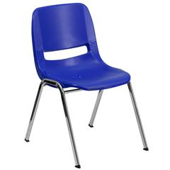 880 lb. Capacity Navy Ergonomic Shell Stack Chair with Chrome Frame and 18'' Seat Height