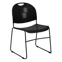 880 lb. Capacity Black Ultra-Compact Stack Chair with Black Frame