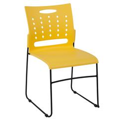 881 lb. Capacity Yellow Sled Base Stack Chair with Carry Handle and Air-Vent Back