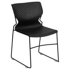 661 lb. Capacity Black Full Back Stack Chair with Black Frame