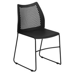 661 lb. Capacity Black Sled Base Stack Chair with Air-Vent Back
