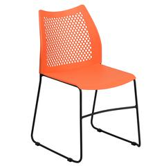 661 lb. Capacity Orange Sled Base Stack Chair with Air-Vent Back