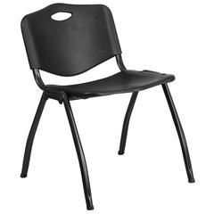 880 lb. Capacity Black Plastic Stack Chair
