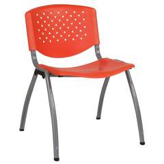 880 lb. Capacity Orange Plastic Stack Chair with Titanium Frame