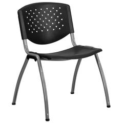 880 lb. Capacity Black Plastic Stack Chair with Titanium Frame