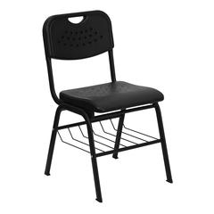 880 lb. Capacity Black Plastic Chair with Black Frame and Book Basket
