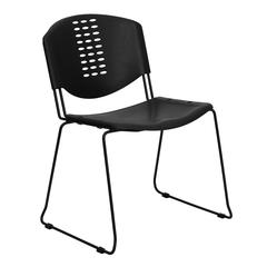 400 lb. Capacity Black Plastic Stack Chair with Black Frame