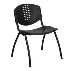 880 lb. Capacity Black Plastic Stack Chair with Black Frame