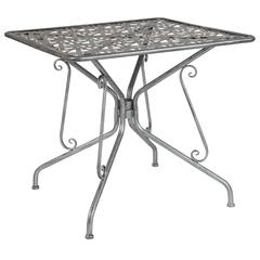 "31.5"" Square Antique Silver Indoor-Outdoor Steel Patio Table"