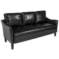 Upholstered Living Room Sofa with Single Cushion Seat and Slanted Arms in Black Leather