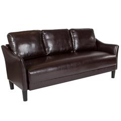 Upholstered Living Room Sofa with Single Cushion Seat and Slanted Arms in Brown Leather