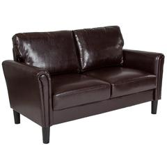 Upholstered Living Room Loveseat with Tailored Arms in Brown Leather