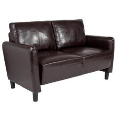 Upholstered Living Room Loveseat with Extended Side Panels and Rounded Arms in Brown Leather