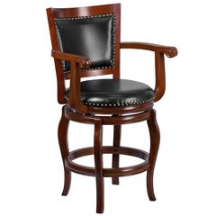 26'' High Cherry Wood Counter Height Stool with Arms, Panel Back and Black Leather Swivel Seat