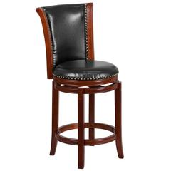 26'' High Dark Chestnut Wood Counter Height Stool with Panel Back and Black Leather Swivel Seat