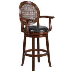 30'' High Expresso Wood Barstool with Arms, Woven Rattan Back and Black Leather Swivel Seat