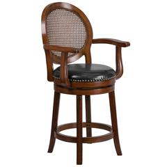 26'' High Expresso Wood Counter Height Stool with Arms, Woven Rattan Back and Black Leather Swivel Seat