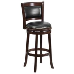 29'' High Cappuccino Wood Barstool with Panel Back and Black Leather Swivel Seat