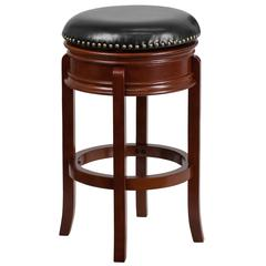 29'' High Backless Light Cherry Wood Barstool with Carved Apron and Black Leather Swivel Seat