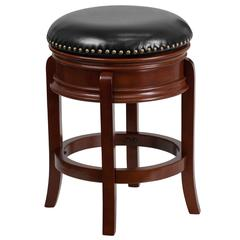 24'' High Backless Light Cherry Wood Counter Height Stool Carved Apron and Black Leather Swivel Seat