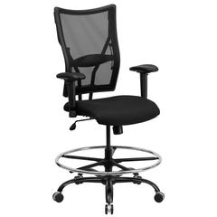 Big & Tall 400 lb. Rated Black Mesh Ergonomic Drafting Chair with Adjustable Arms