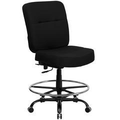Big & Tall 400 lb. Rated High Back Black Fabric Ergonomic Drafting Chair with Rectangular Back