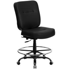 Big & Tall 400 lb. Rated Black Leather Ergonomic Drafting Chair