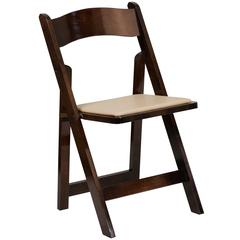 Fruitwood Wood Folding Chair with Vinyl Padded Seat