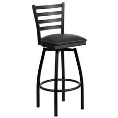 Black Ladder Back Swivel Metal Barstool - Black Vinyl Seat
