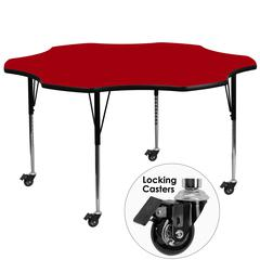 Mobile 60'' Flower Red Thermal Laminate Activity Table - Standard Height Adjustable Legs
