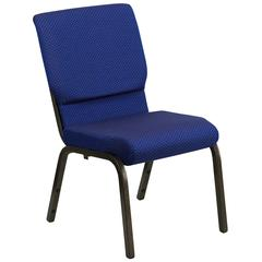 18.5''W Stacking Church Chair in Navy Blue Patterned Fabric - Gold Vein Frame