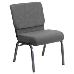 21''W Stacking Church Chair in Gray Fabric - Silver Vein Frame