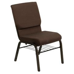 18.5''W Church Chair in Brown Fabric with Book Rack - Gold Vein Frame