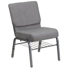 21''W Church Chair in Gray Fabric with Book Rack - Silver Vein Frame