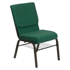18.5''W Church Chair in Green Patterned Fabric with Book Rack - Gold Vein Frame