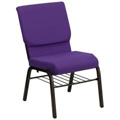 18.5''W Church Chair in Purple Fabric with Book Rack - Gold Vein Frame