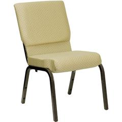 18.5''W Stacking Church Chair in Beige Patterned Fabric - Gold Vein Frame