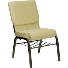 18.5''W Church Chair in Beige Patterned Fabric with Book Rack - Gold Vein Frame