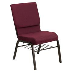 18.5''W Church Chair in Burgundy Patterned Fabric with Book Rack - Gold Vein Frame