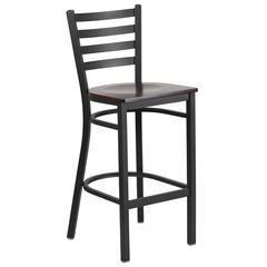 Black Ladder Back Metal Restaurant Barstool - Walnut Wood Seat