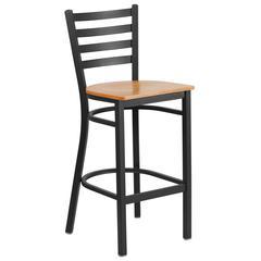 Black Ladder Back Metal Restaurant Barstool - Natural Wood Seat
