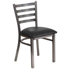 Clear Coated Ladder Back Metal Restaurant Chair - Black Vinyl Seat