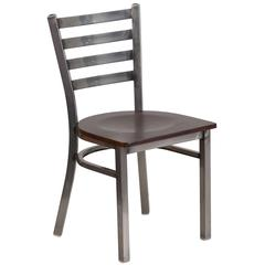 Clear Coated Ladder Back Metal Restaurant Chair - Walnut Wood Seat