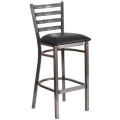 Clear Coated Ladder Back Metal Restaurant Barstool - Black Vinyl Seat