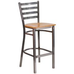 Clear Coated Ladder Back Metal Restaurant Barstool - Natural Wood Seat