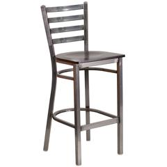 Clear Coated Ladder Back Metal Restaurant Barstool - Walnut Wood Seat